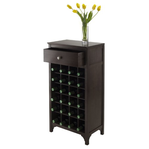 Winsome Ancona Modular 24 Bottle Wine Cabinet with Drawer 19.09W x 12.6D x 37.52H-Inches, Dark Espresso