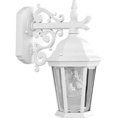 Progress Lighting P5682-30 Wall Lantern with Scroll Arm Combined with The Brilliant Clarity Of Clear Beveled Glass, Textured White For Sale