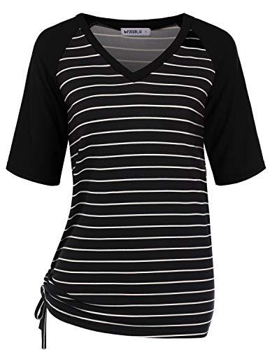 (Doublju Womens Short Sleeve Raglan T-Shirt with Adjustable Shirring Hem with Plus Size Black Large)