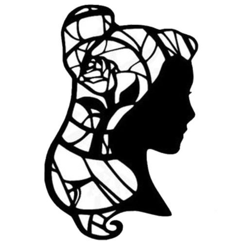 Disney Beauty And The Beast Stained Glass, Orange, 22 Inch, Die Cut Vinyl Decal, For Windows, Cars, Trucks, Toolbox, Laptops, Macbook-virtually Any Hard Smooth Surface ()