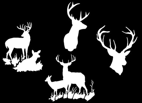 Deer Buck Hunting Decals: Deer Heads, Doe Laying, Doe Standing (Buck Style Two White)