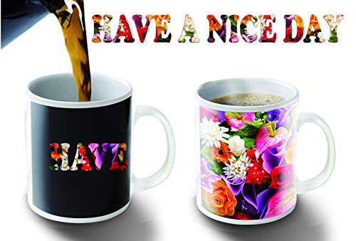 Flower Photo Coffee Mug - Cortunex. Morning Coffee Mug. 11 Ounce. Changing Color Mug For You And Your Friend. Ceramic Heat Sensitive Color Changing Coffee Mug. Novelty Heat Sensitive Mug With A Have A Nice Day Full Of Flowers