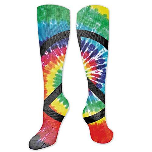 (Women's Girls Novelty Knee High Socks Peace Sign Tie-Dye School Boot)
