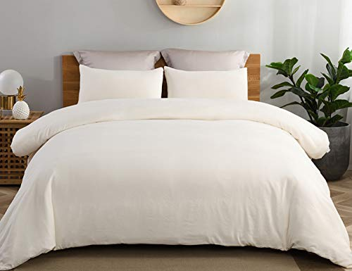 JML Duvet Cover Queen, Ultra Soft 100% Washed Microfiber 3 Pieces Bedding Comforter Cover Set, Hypoallergenic and Breathable Solid Color Duvet Cover Set, Ivory