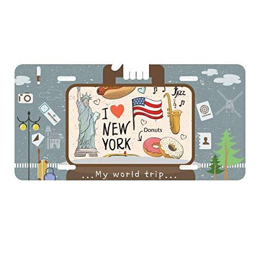DIYthinker I Love New York Hot Dog Donuts America Texi License Plate Car Decoration Tin Sign Travel
