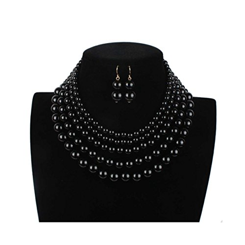 Lanue Women Elegant Jewelry Set Multi Strand 5 Layer Pearl Bead Cluster Collar Bib Choker Necklace and Earrings Suit (Black)