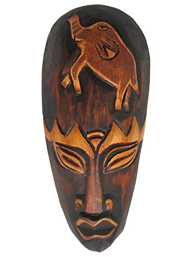 Hand Carved African Tribal Wooden Mask, Family, 8""
