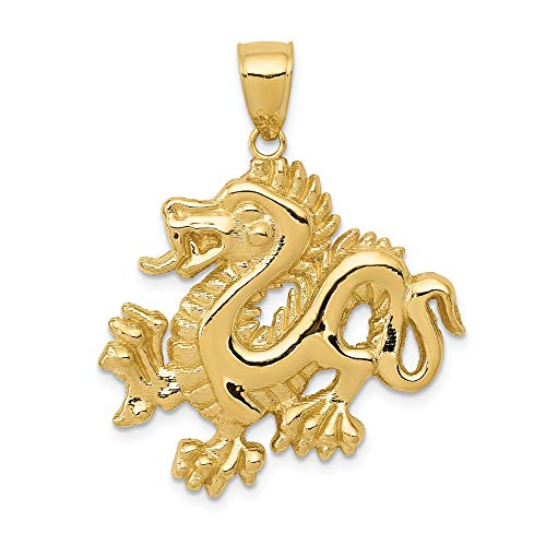 14k Yellow Gold Solid Dragon Pendant Charm Necklace Skull Dagger Man Fine Jewelry Gift For Dad Mens For Him
