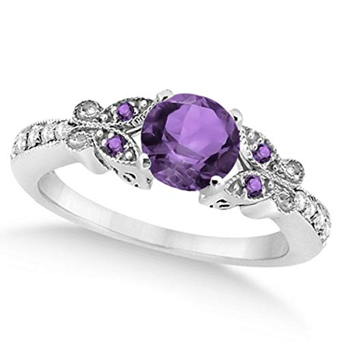 Preset Womenâ€s Amethyst and Diamond Butterfly Engagement Ring w/Side Stones 14K White Gold 0.88ctw