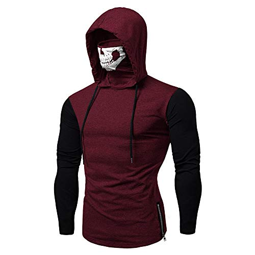 GOVOW 2018 Ultra-Modern Design Mens Skull Mask Pullover Pure Color Long Sleeve Hooded Sweatshirt Motorcycle Sports