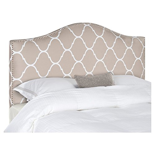 safavieh connie pearl grey moroccan pattern camelback headboard silver nailhead full - Moroccan Bed Frame