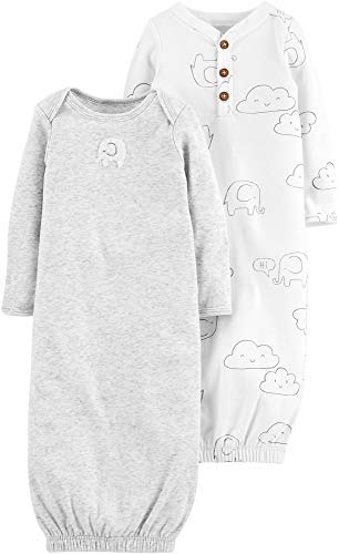 Gown Lap Shoulder - Carter's 2-Pack Baby Soft Sleeper Gowns Unisex Elephant & Clouds,White,Preemie