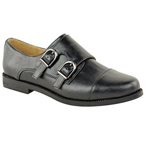 Mujeres Mocasines Vintage trabajo oficina colegio Náuticos Zapatos Plano Talla - Piel Sintética Negro, 36