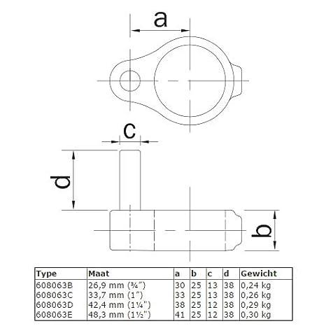 Conector de tubo galvanizado en caliente y galvanizado di/ámetro de 21,3 hasta 60,3 mm