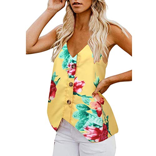 Shisay Women V Neck Floral Tank Tops Button Front Crop Hem Strap Loose Camisole Vests Shirt Yellow