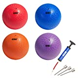 GSE Games & Sports Expert 10-inch Classic Inflatable Playground Balls (5 Colors Available) (4 Pack - Red/Purple/Blue/Orange)