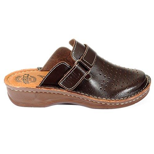 Dr Chaussons Marron Chaussures Mules Cuir en Dames Sabots Punto D52 Rosso Femme BRIL xfTwfqrY