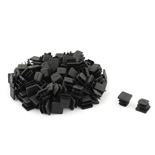 uxcell Plastic Square Design Tube Insert End Blanking Cover Cap 13 x 13mm 100pcs Black