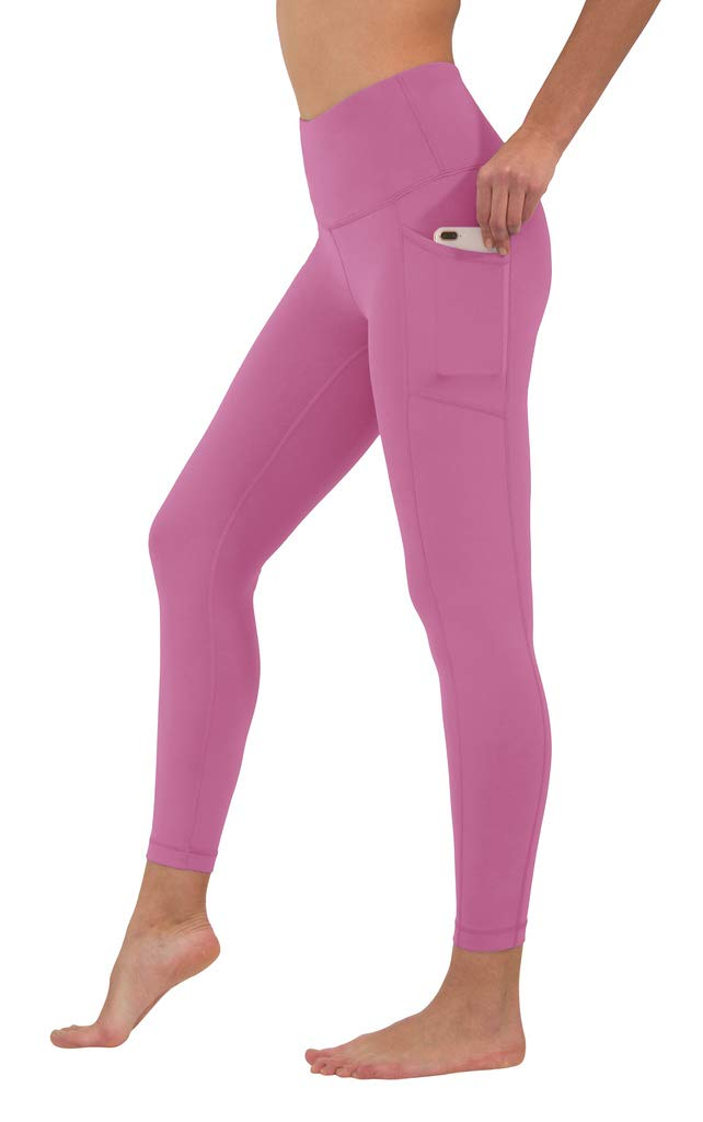 90 Degree By Reflex High Waist Tummy Control Interlink Squat Proof Ankle Length Leggings - Cuban Orchid - Small