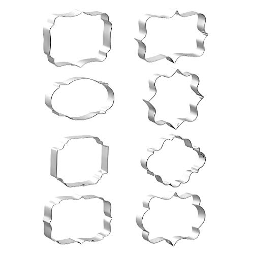 - 8 PCS Plaque Cookie Cutters Stainless Steel, Fondant Cutter Molds for Biscuit, Fruit, Bread - Square, Oval, Rectangle, Photo Plaques Frame