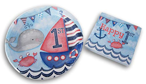 Party Supply Nautical Beach Birthday Themed Kit - Dinner Plates and Beverage Napkins -