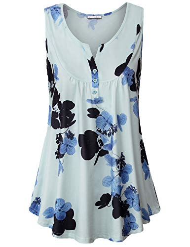 Messic Tunic Tank Tops for Women, Flowy Summer Sleeveless Tops Printed Tunics Tank Top Casual Daily Wear Light Blue Large