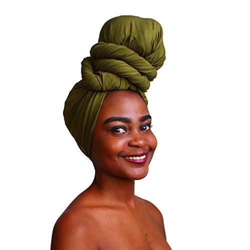 MCYSKK Long Knit Stretch Turban Head Wraps Headband Scarf Tie Headwear Solid Color
