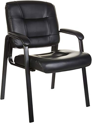 AmazonBasics Classic Leather Guest Chair with Metal Frame - Black
