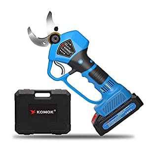 KOMOK Electric Pruning Shears Cordless Scissors,Power Hedge Trimmer Secateurs with 2 Rechargeable 2000mAh Batteries Tree…