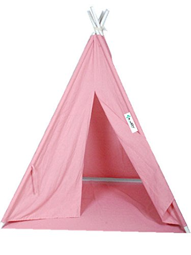 Classic Playhouse (e-joy Kids Teepee Tent ¨C 6 Foot Tall Classic Indian Teepee Playhouse Cotton Canvas Play Tent for Kids with White Poles and Carry Bag by Porpora)