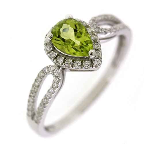 BL Jewelry Sterling Silver Pear Cut Natural Peridot Ring (7/10 CT.T.W) in Heart Shape (7)