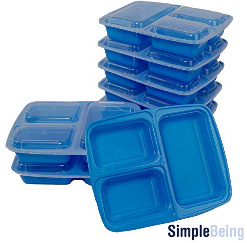 Simply Life New [7 Pack] 3 Compartment Meal Prep Containers (Blue)