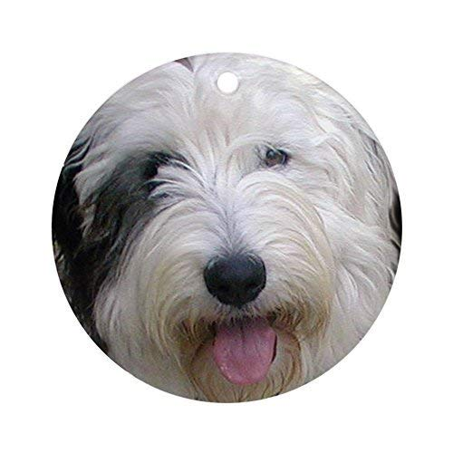 Lionkin8 Holiday Ornaments for Xmas Tree Old English Sheepdog Round Craft Gift Ceramic Ornament Decorations - 3 inch
