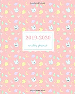 Calendar For December 2020 With Moon 2019 2020 Weekly Planner: Kawaii Bunny Leaf Popsicle Candy Moon