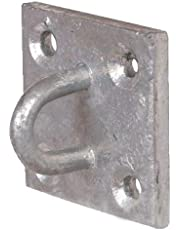 Merriway BH02050 Bulk Hardware 6mm Dia. Metal Wall Anchor Staple on Plate Galvanised Rustproof Steel, 50mm (2 inch) Square 6 mm, (Pack of 1), Grey