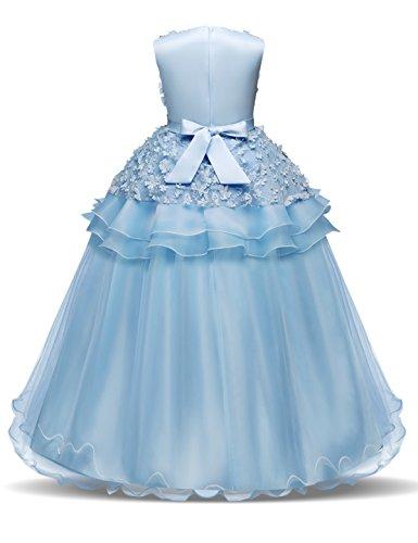 con Encajes Fiesta de Niñas Mangas Princesa para Desfile del Vestido de Azul NNJXD sin Falda ROYHqwXX