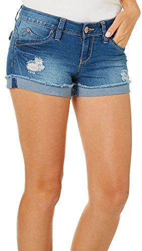 YMI Juniors Wannabettabutt Distressed Roll Cuff Denim Shorts 3 Light wash ()