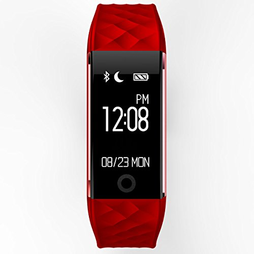 Fitness Tracker S2 Smart Wristband Bracelet, IP67 Waterproof Wireless Bluetooth Call Remind Auto Sleep Monitor Sport Pedometer Activity Tracker for Android IOS Phones (Red)