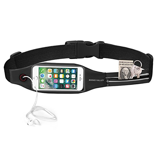 Running Belt Waist Pack, Rhino Valley Sports Fanny Fitness Workout Belt, Water Resistant Bag, Dual Pocket with Clear Touch Screen Window for iPhone X/8/7 Plus, Galaxy Note 8/S9 Plus - (Valley Sport Pack)