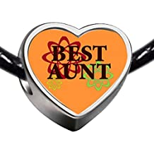 GiftJewelryShop Silver Plated Best Aunt Photo Heart Charm Beads Bracelets European Bracelets Compatible