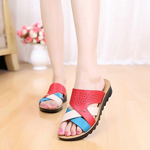 GTVERNH Zapatillas de mujer/verano/en Mama Zapatillas de mujer con parte inferior plana, para mujer gules
