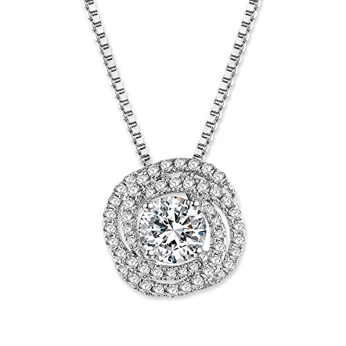 GEORGE · SMITH Classic 925 Sterling Silver Pendant Crystal Necklaces with 4A Cubic Zircon Diamonds Birthday Wedding Gifts for Women with Luxury Jewelry (Swarovski Zircon Necklace)