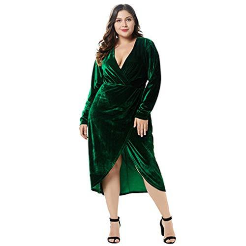 Plus Size Velvet Dress Women V Neck Long Sleeve Dress Split Solid Slim Mid-Calf Dress Burgundy/Dark Green/Blue