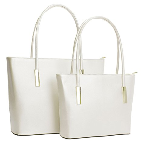 Big Handbag Shop - Bolso de tela de cuero sintético para mujer Metallic - Champagne (CH899)