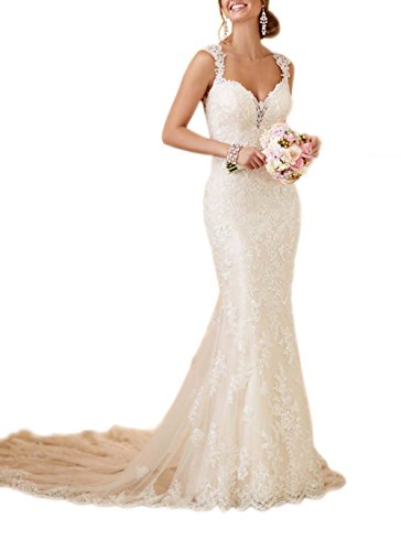 Mermaid V-neck Court Train - Datangep Women's Mermaid Open Back Court Train Bridal Gown V-Neck Straps Lace Wedding Dress White US6