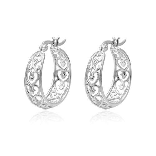 - Sterling Silver Filigree Heart Round Hoop Earrings Medium Size 7mmx22mm For Women