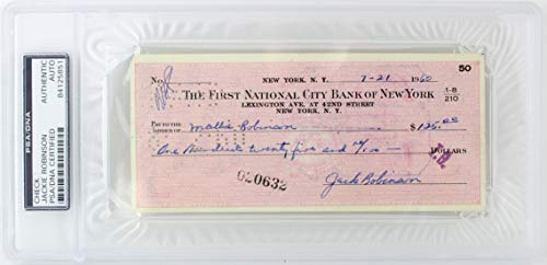 Dodgers Jackie Robinson Authentic Signed 2.75x6.25 1960 Check PSA/DNA Slabbed