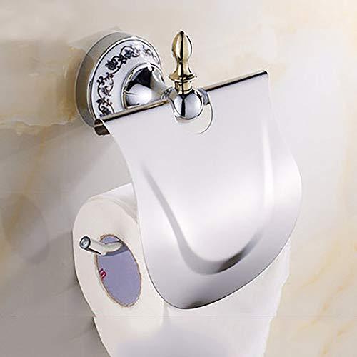 WGDWGD Toilet Roll Holders Toilet Paper Holder Bathroom Roll Paper Box Blue and White Porcelain Paper Towel Holder,Silver