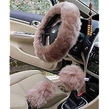"Sokey Faux Wool Steering Wheel Cover 14.96""x 14.96"",1 Set 3 Pcs (Cameo Brown)"