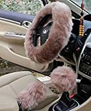 "Yontree Winter Warm Faux Wool Handbrake Cover Gear Shift Cover Steering Wheel Cover 14.96""x 14.96"" 1 Set 3 Pcs (Cameo Brown)"
